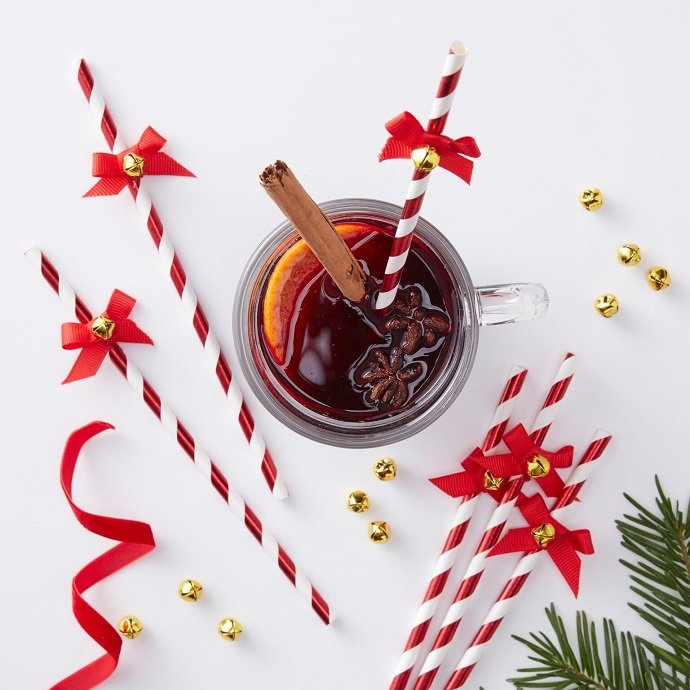 Red & White Paper Straws for Christmas