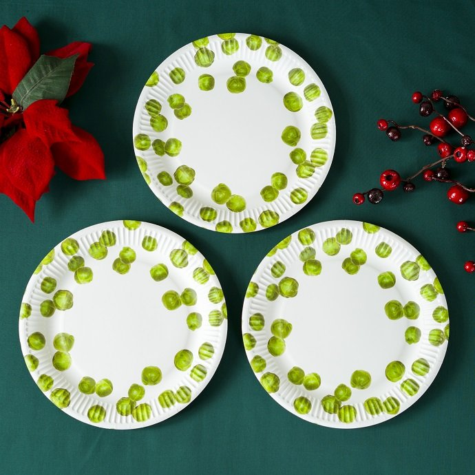 Brussel Sprout Christmas Party Plates