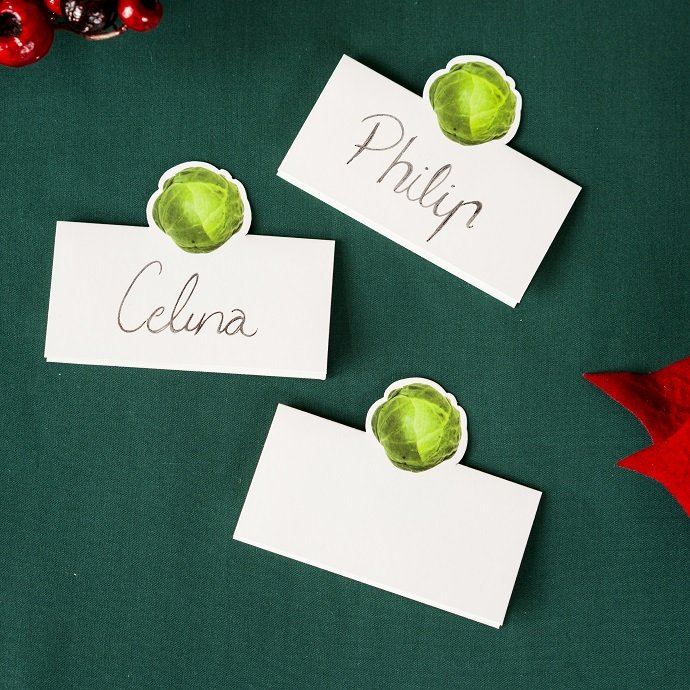 Brussel Sprout Christmas Place Card Holders