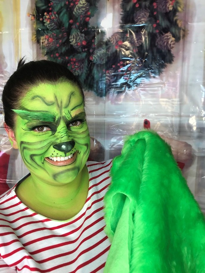 Grinch Face Paint Tutorial