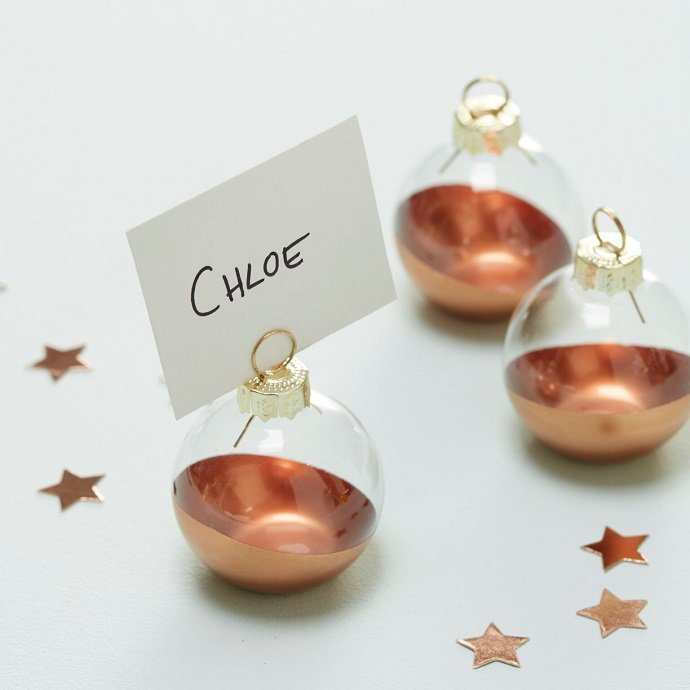 Rose Gold Dipped Bauble Place Card Holders