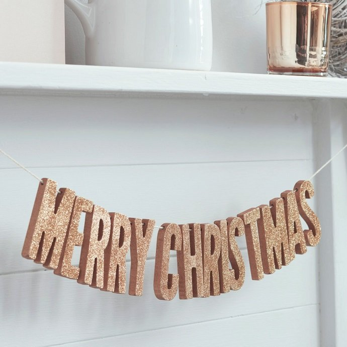 Rose Gold Merry Christmas Bunting