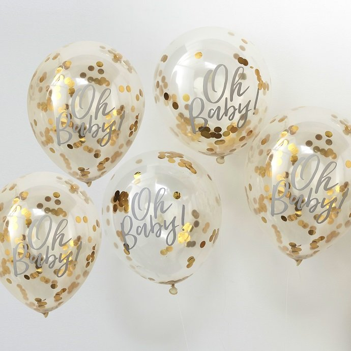 Beautiful Oh Baby Gold Confetti Balloons