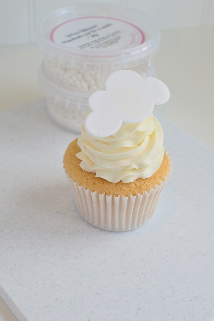 Cupcake with a Cloud Cupcake Topper and Sprinkles