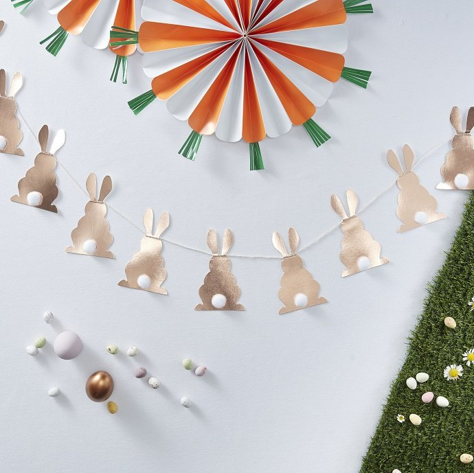 Easter Bunny Bunting With Pom Pom Tails