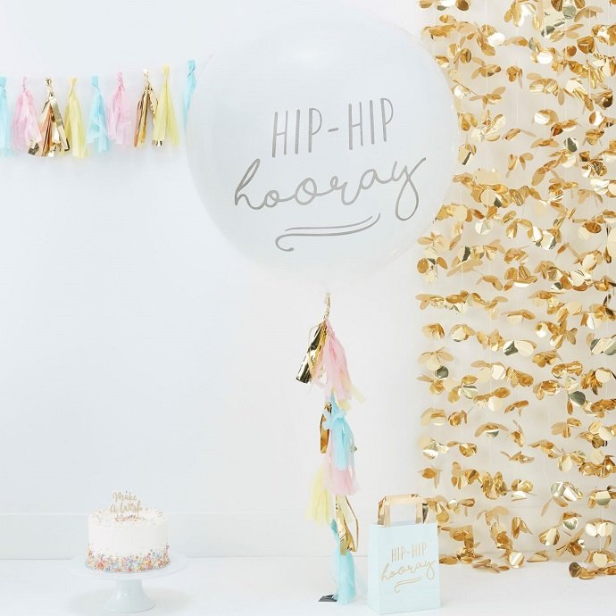 Giant Hip Hip Hooray Balloon With Tassels