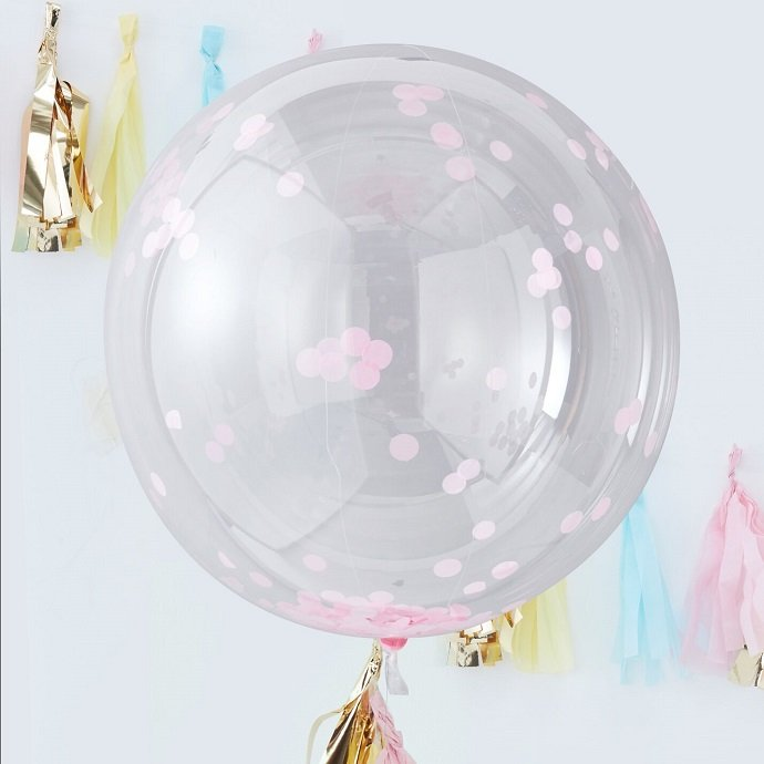 Giant Pink Confetti Orb Balloon