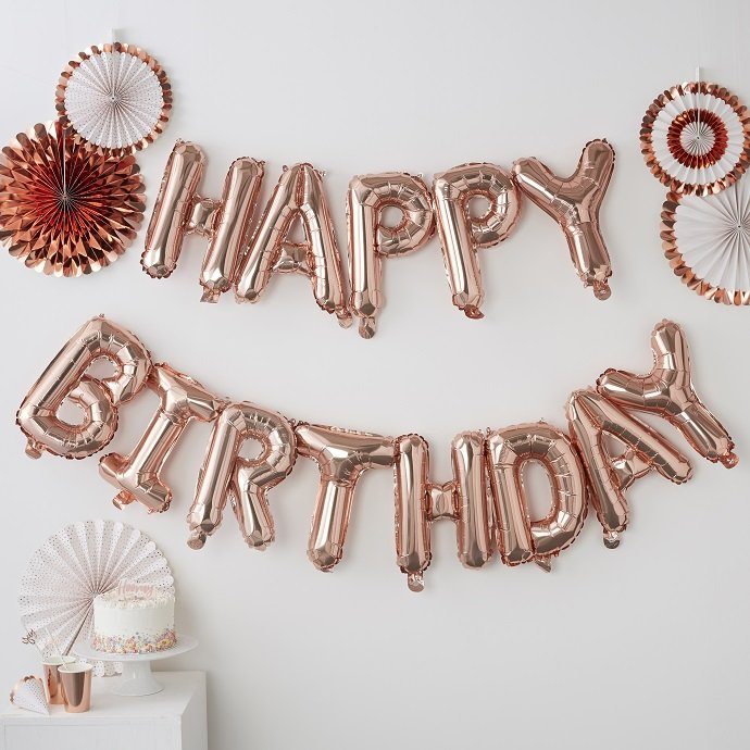 Happy Birthday Rose Gold Balloon Bunting