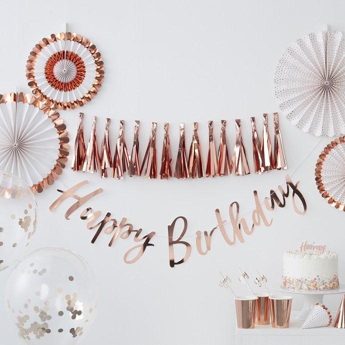 Rose Gold Happy Birthday Letter Bunting