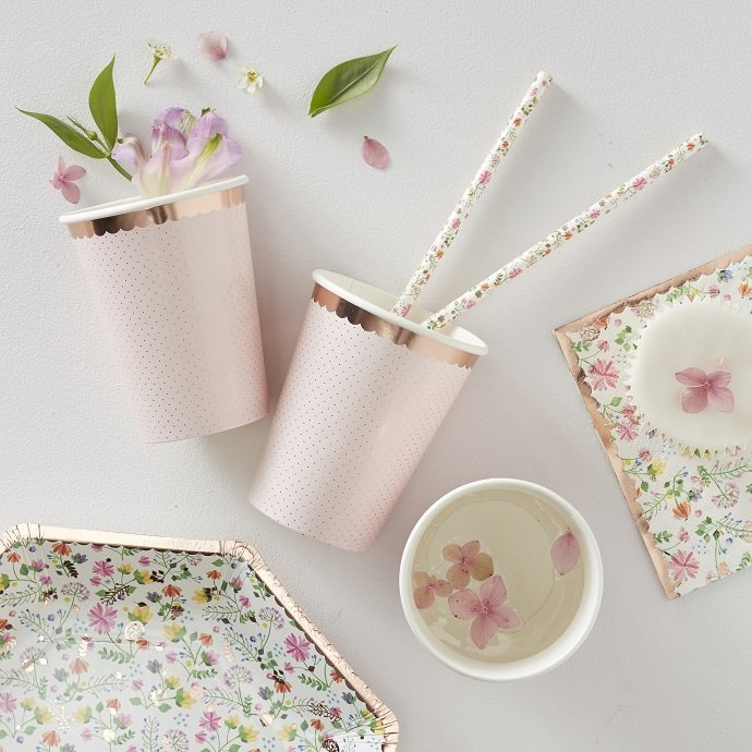 Rose Gold Floral Cups for English Tea Party