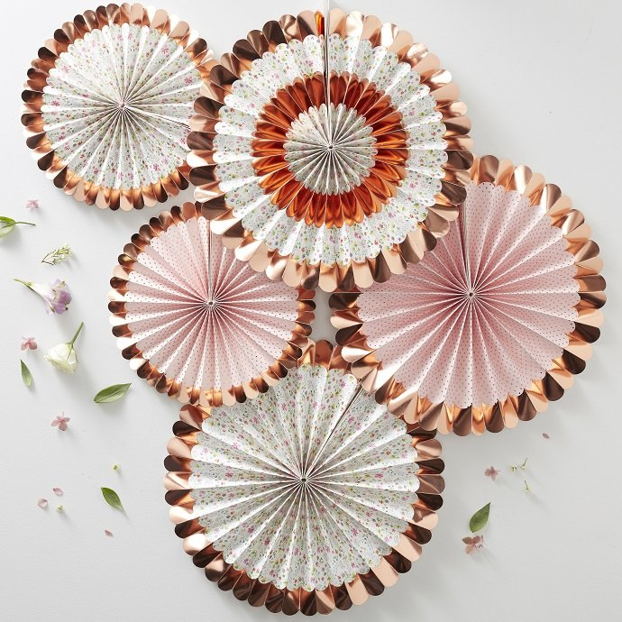 Rose Gold Floral Fan Decorations for English Tea Party