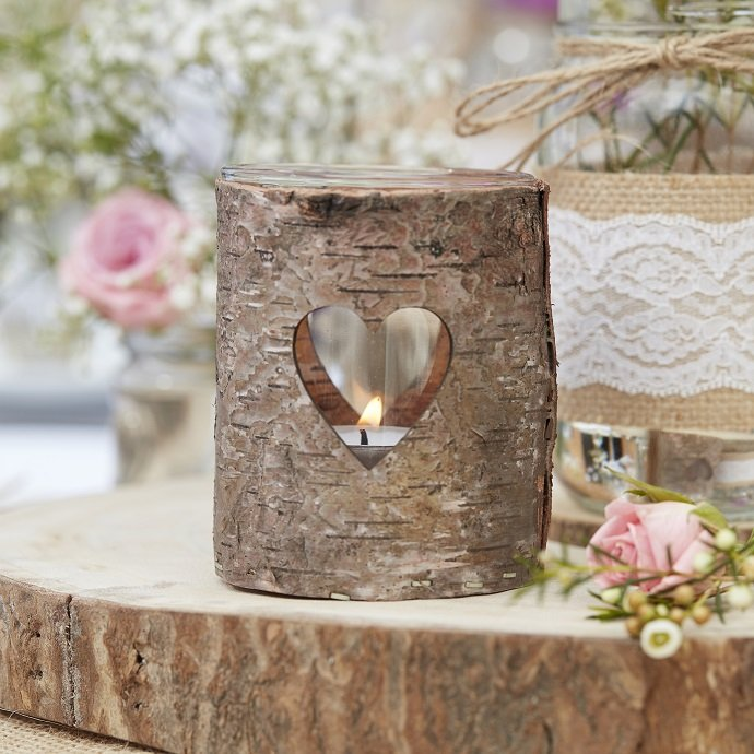 Wooden Heart Tealight Holders
