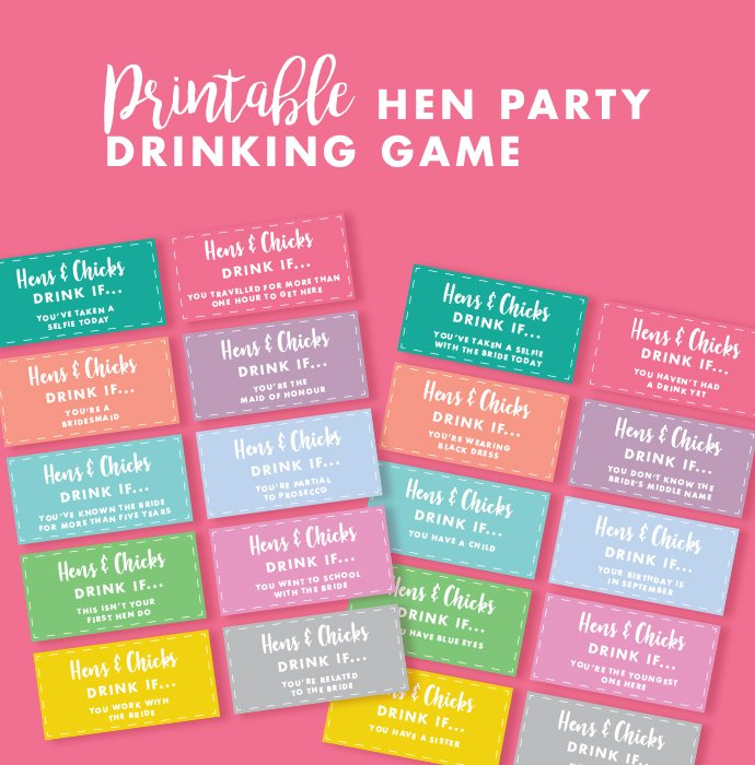 Free Printable Hen Party Drinking Game