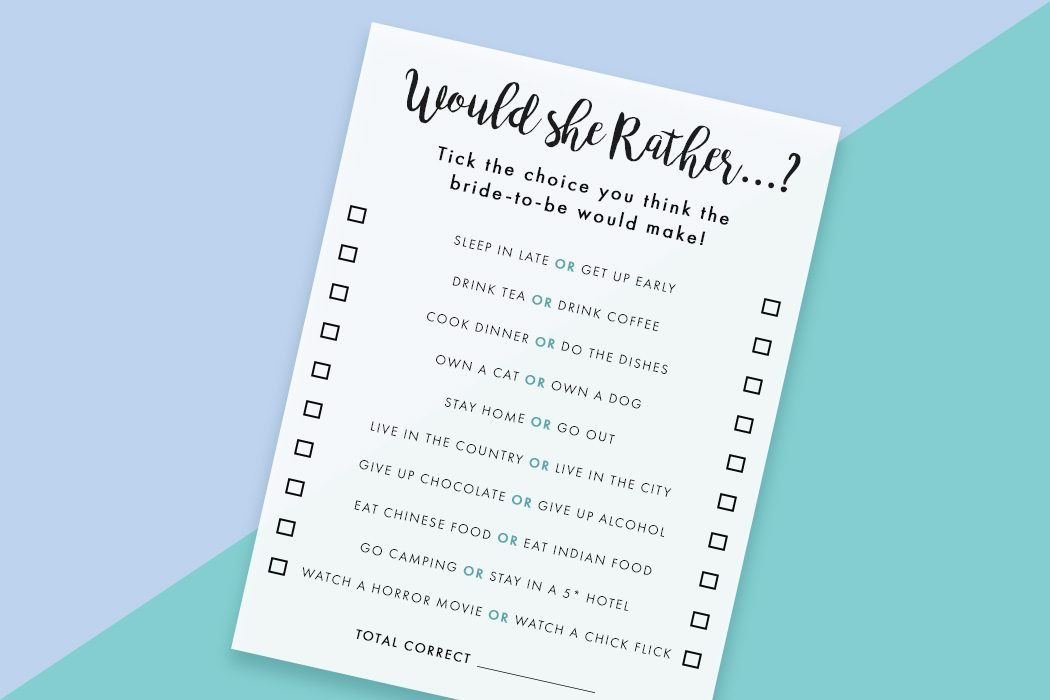 Free Printable Would She Rather Hen Party Game