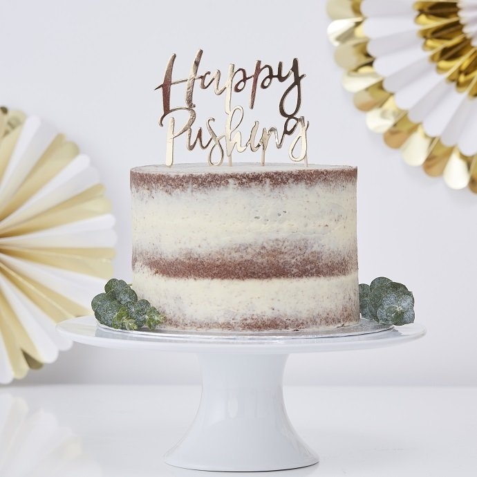 Happy Pushing Baby Shower Cake Topper