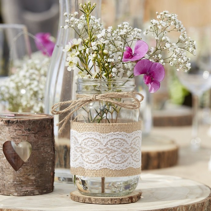 Hessian & Lace Glass Jars