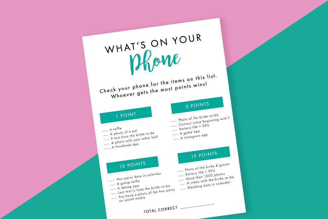 Printable What's On Your Phone Hen Party Game