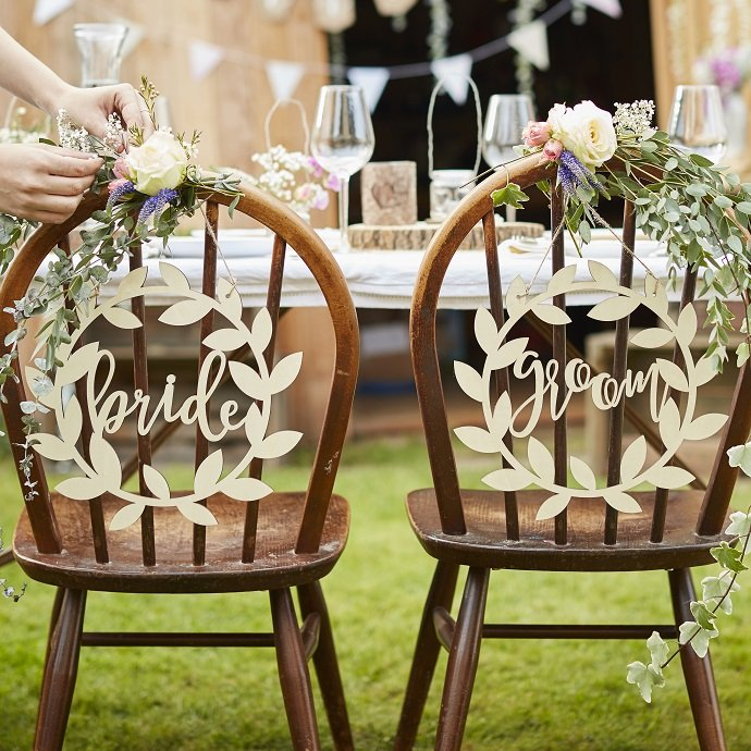 Wooden Bride & Groom Chair Signs