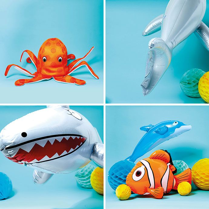 Inflatable dolphin, shark, clown fish and octopus