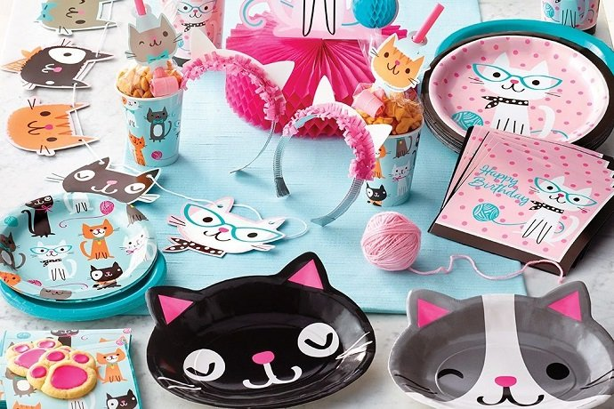 Cat-themed Purrfect Party supplies