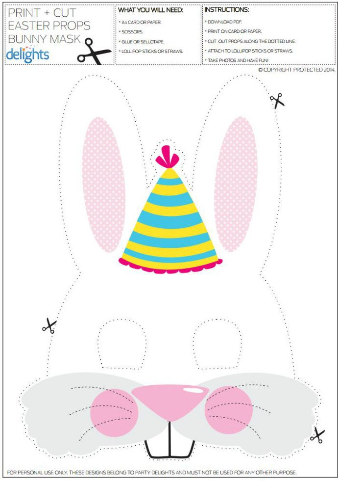 photograph about Printable Bunny Mask called Free of charge Printable Easter Bunny Mask Get together Delights Web site