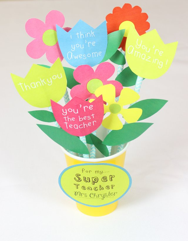 Thank you teacher free printable - Paper Flower Bouquet