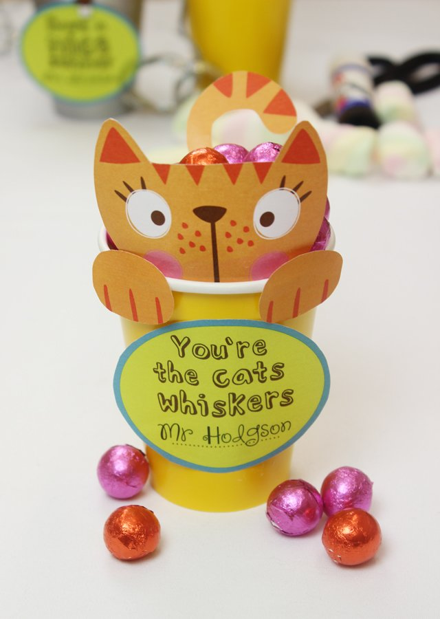 Free printable cat treat cup