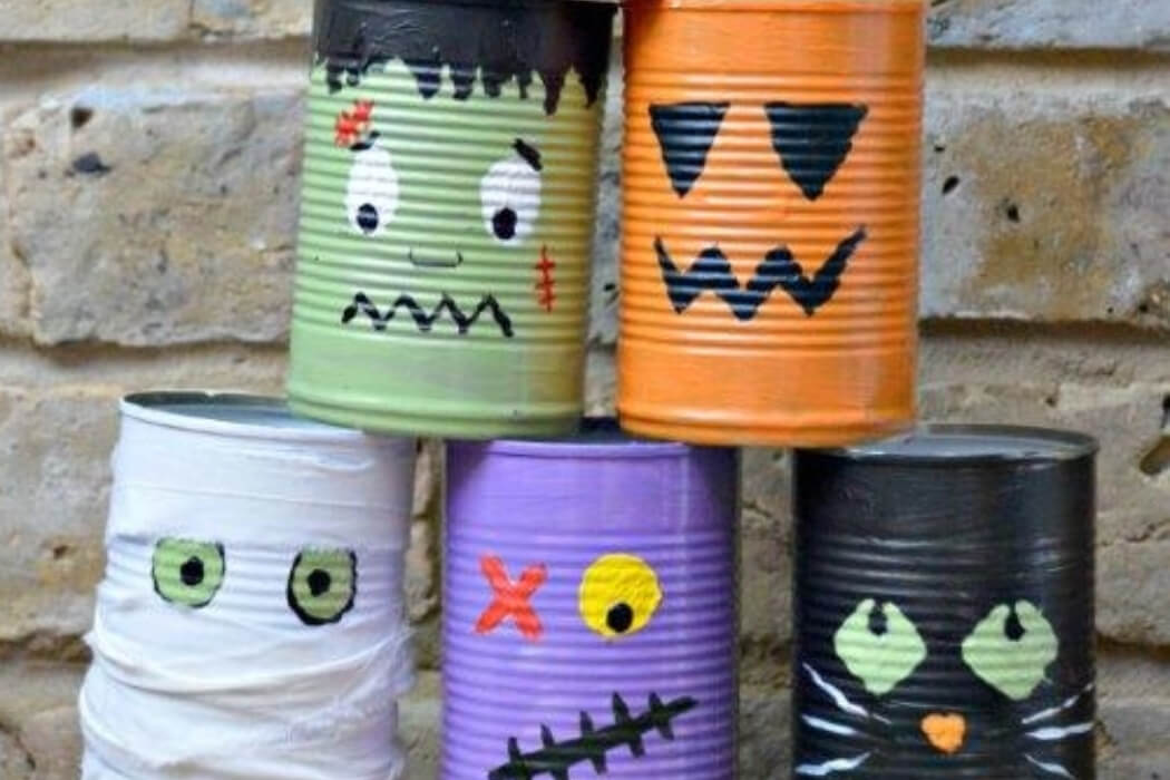 Decorated Halloween tin can bowling how-to