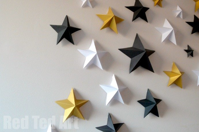 Oscars Party Decorations - Gold Black and White 3D stars