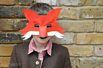 DIY Fantastic Mr Fox mask worn by child