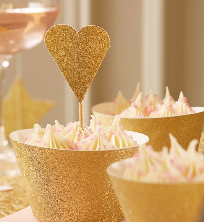 Gold Heart Cupcake Toppers