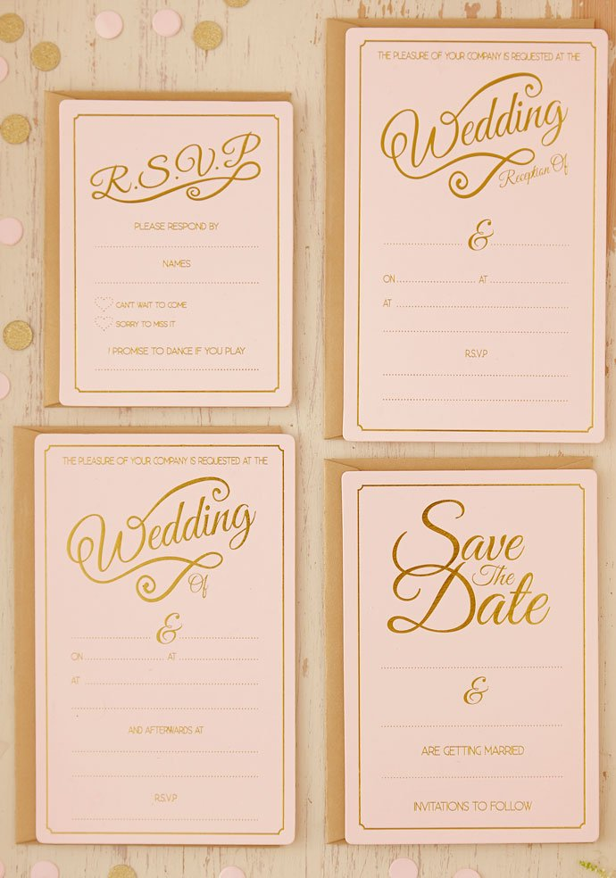 Pastel Wedding Invitations and Save the Date Cards