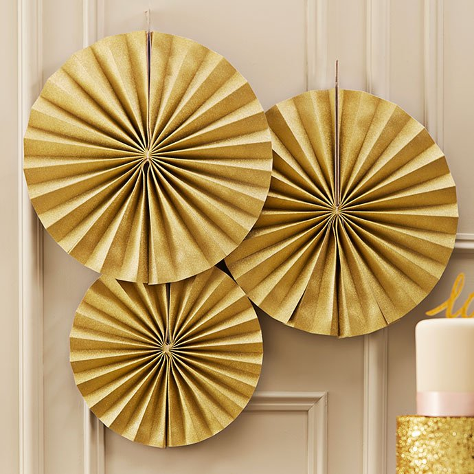 Gold Paper Fan Decorations for Weddings