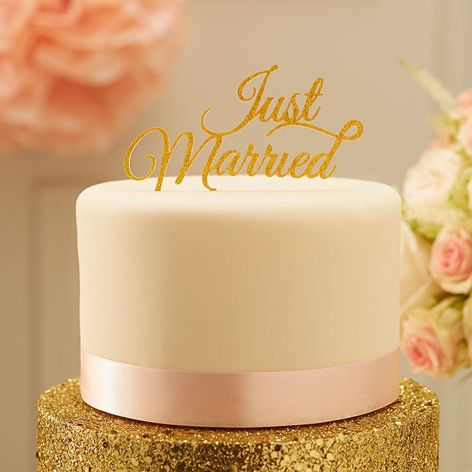 Gold Just Married Wedding Cake Topper
