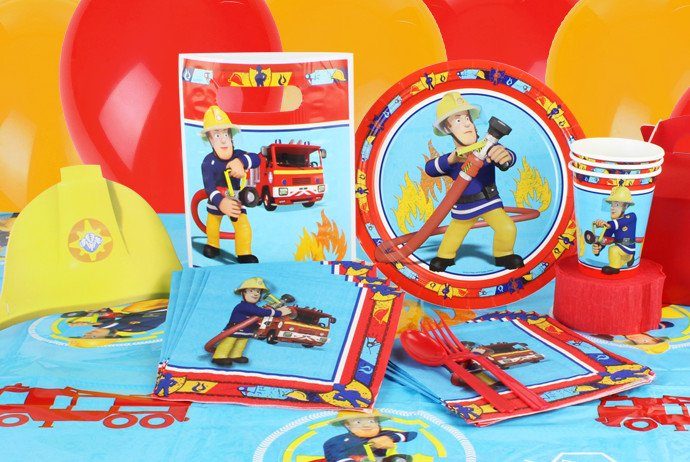 Fireman Sam party supplies for a toddler birthday party