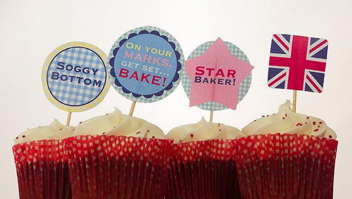 Printable GBBO cupcake toppers
