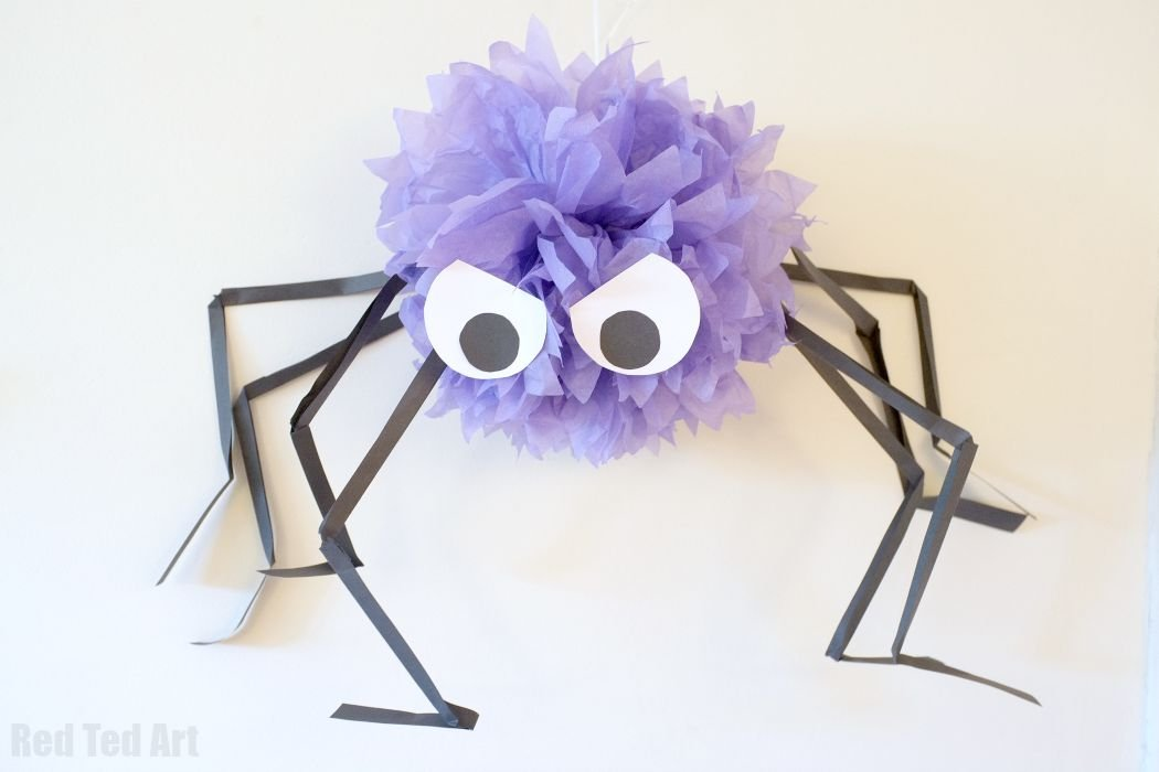 Easy Giant Pom Pom Spiders For Halloween Party Delights Blog