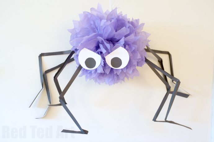 DIY Halloween decorating ideas - make this fun and easy Giant Pom Pom Spiders