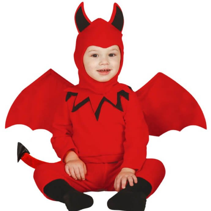 Adorable baby wearing a red devil costume with tail, wings and a hood with devil horns