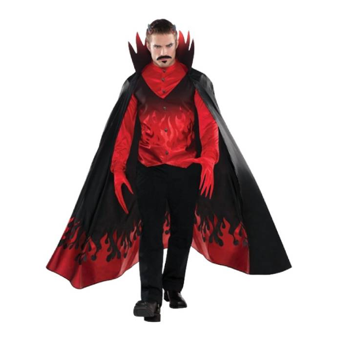 Man in Diablo costume with cape, long gloves and red shirt