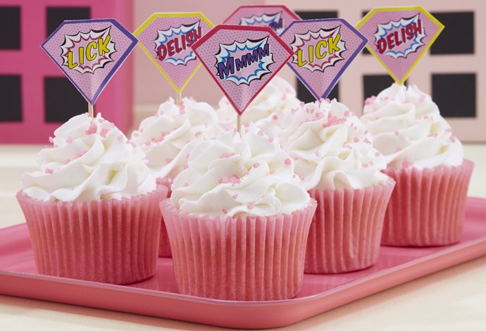 Pink Comic Book Superhero Cupcakes