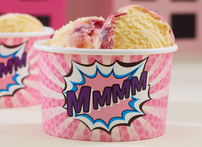 Pink Comic Book Superhero Ice Cream Tubs