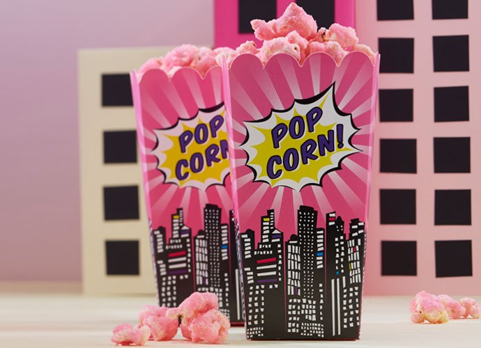 Pink Comic Book Superhero Popcorn Boxes