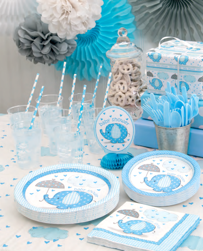 Blue Elephant Baby Shower Supplies