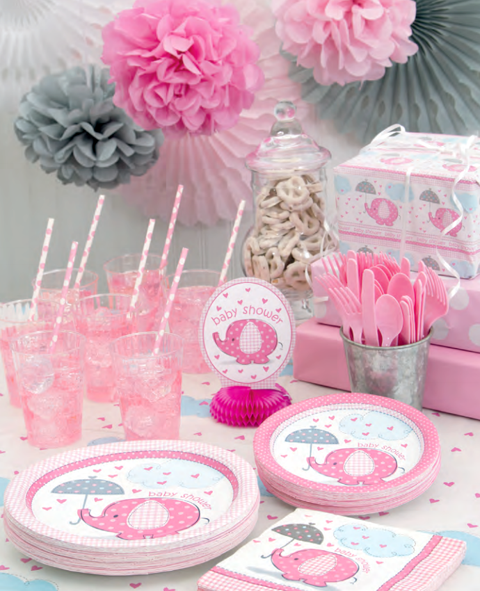 Pink Elephant Baby Shower Supplies