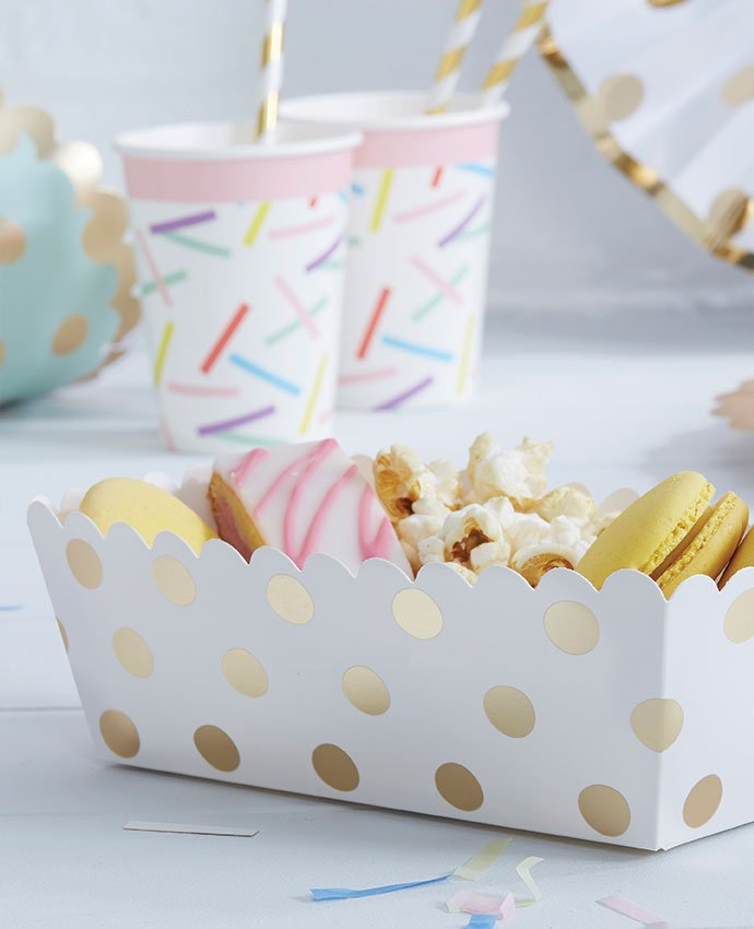White and Gold Polka Dot Food Trays