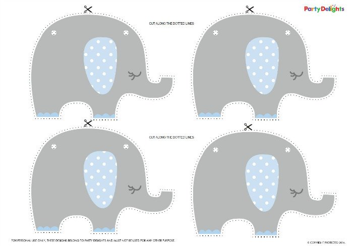 Blue Elephant Baby Shower Bunting