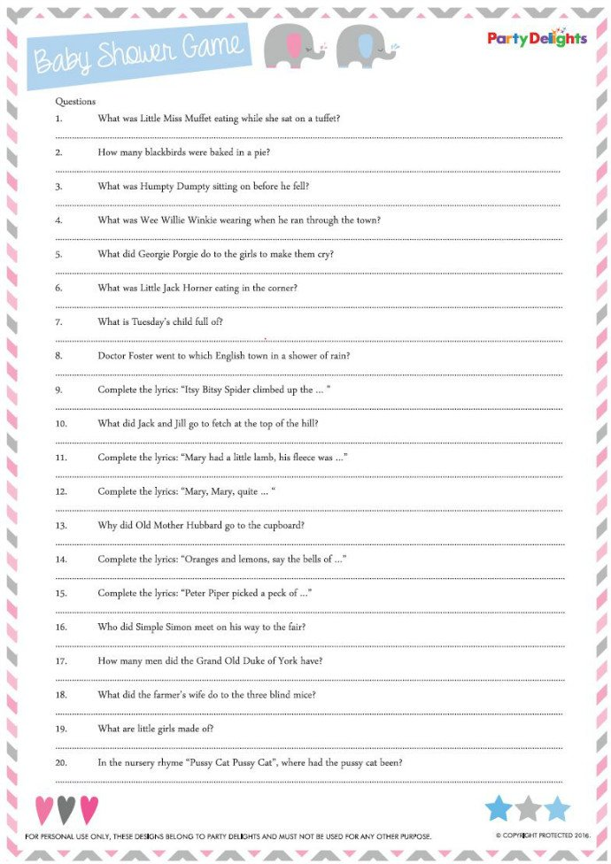 Free Printable Nursery Rhyme Quiz Party Delights Blog