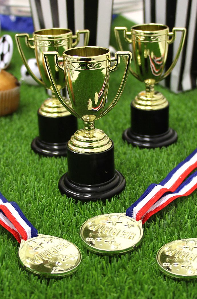 Football Party Trophies and Medals