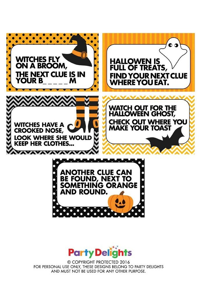 Halloween Treasure Hunt Clues